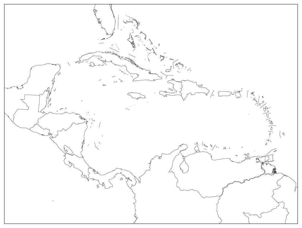 中部アメリカ地域-白地図-国境あり