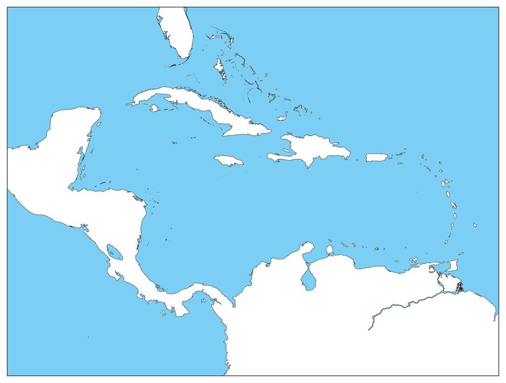 中部アメリカ地域-白地図-国境なし-海