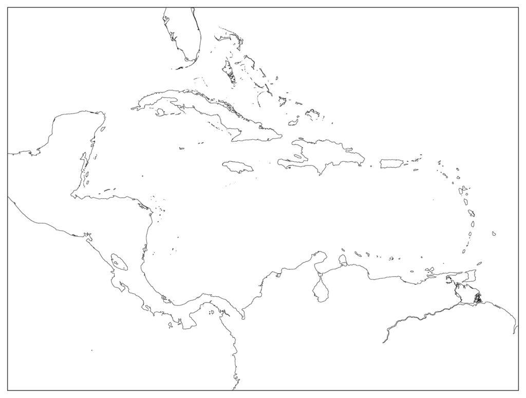 中部アメリカ地域-白地図-国境なし