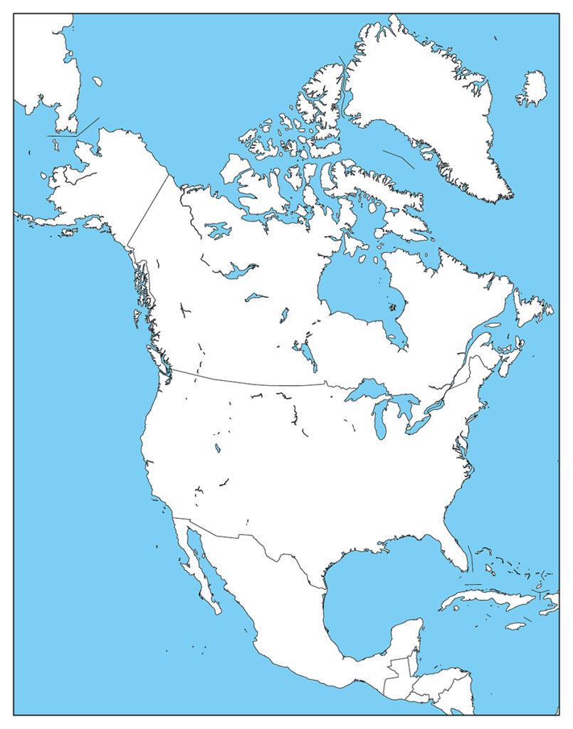 北アメリカ地域-白地図-国境あり-海