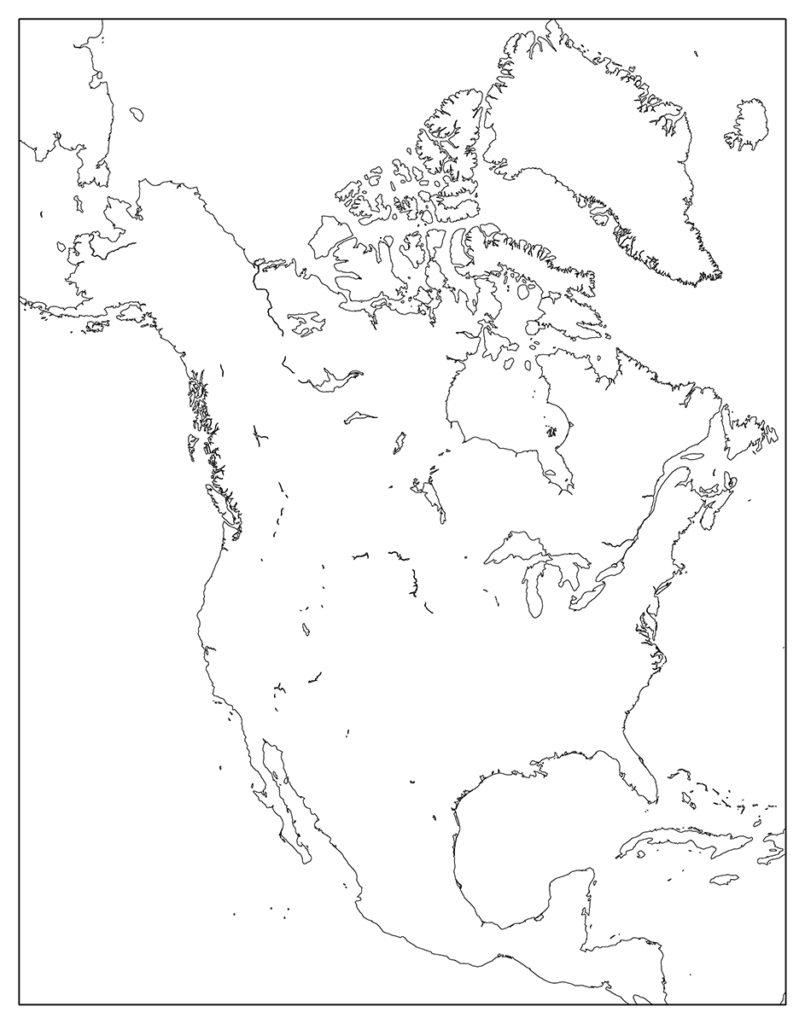 北アメリカ地域-白地図-国境なし