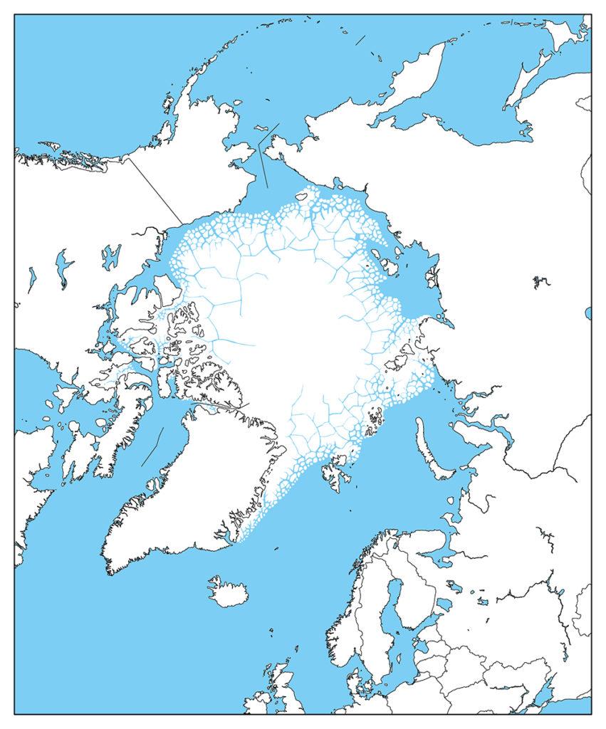 北極地域-白地図-国境あり-海