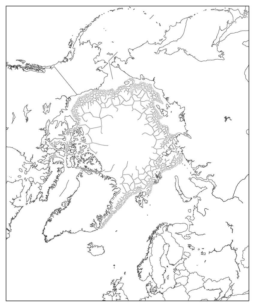 北極地域-白地図-国境あり