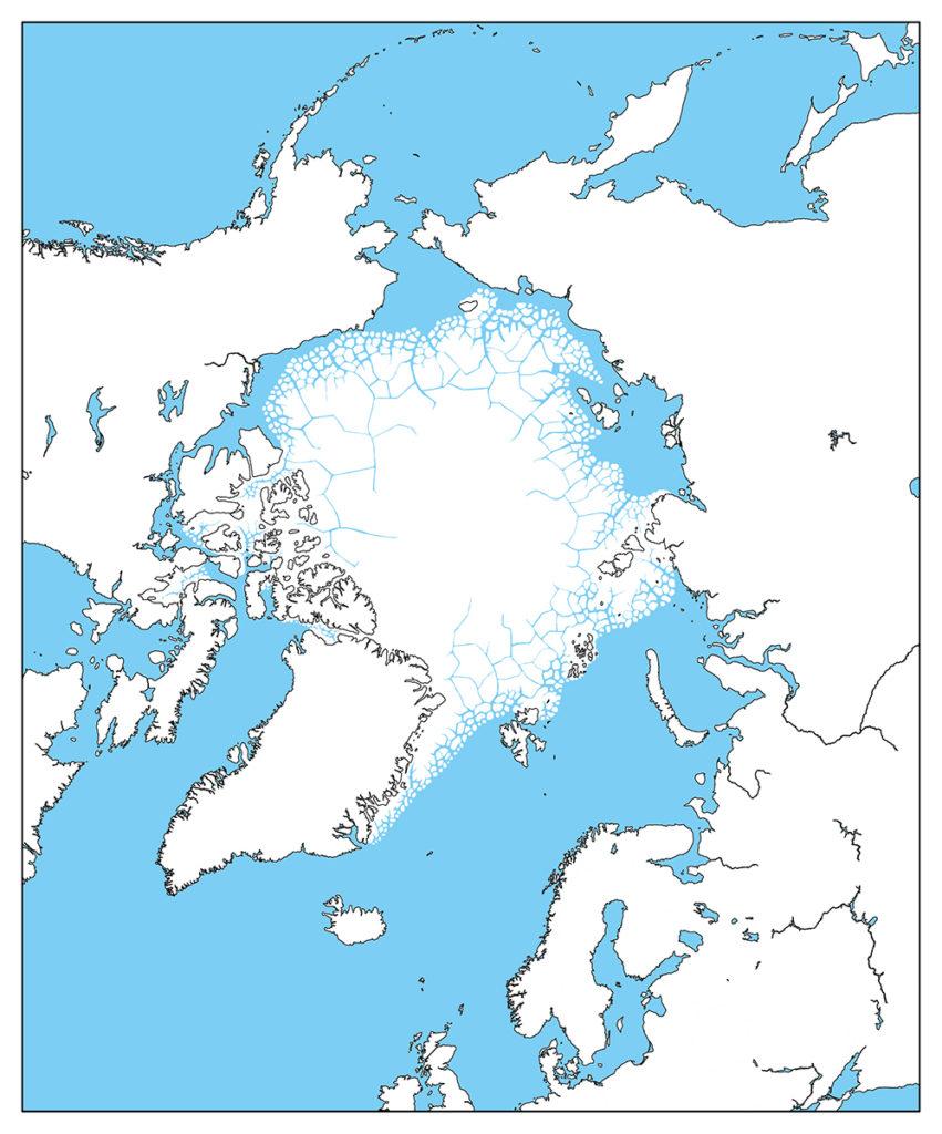 北極地域-白地図-国境なし-海