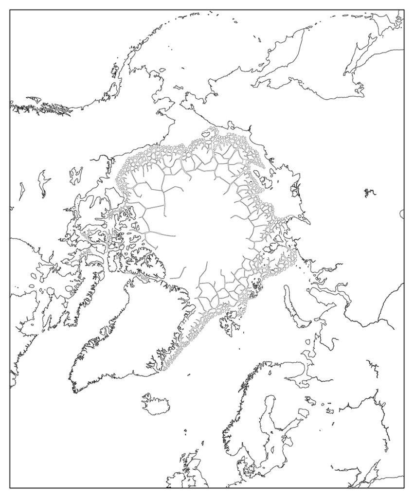 北極地域-白地図-国境なし