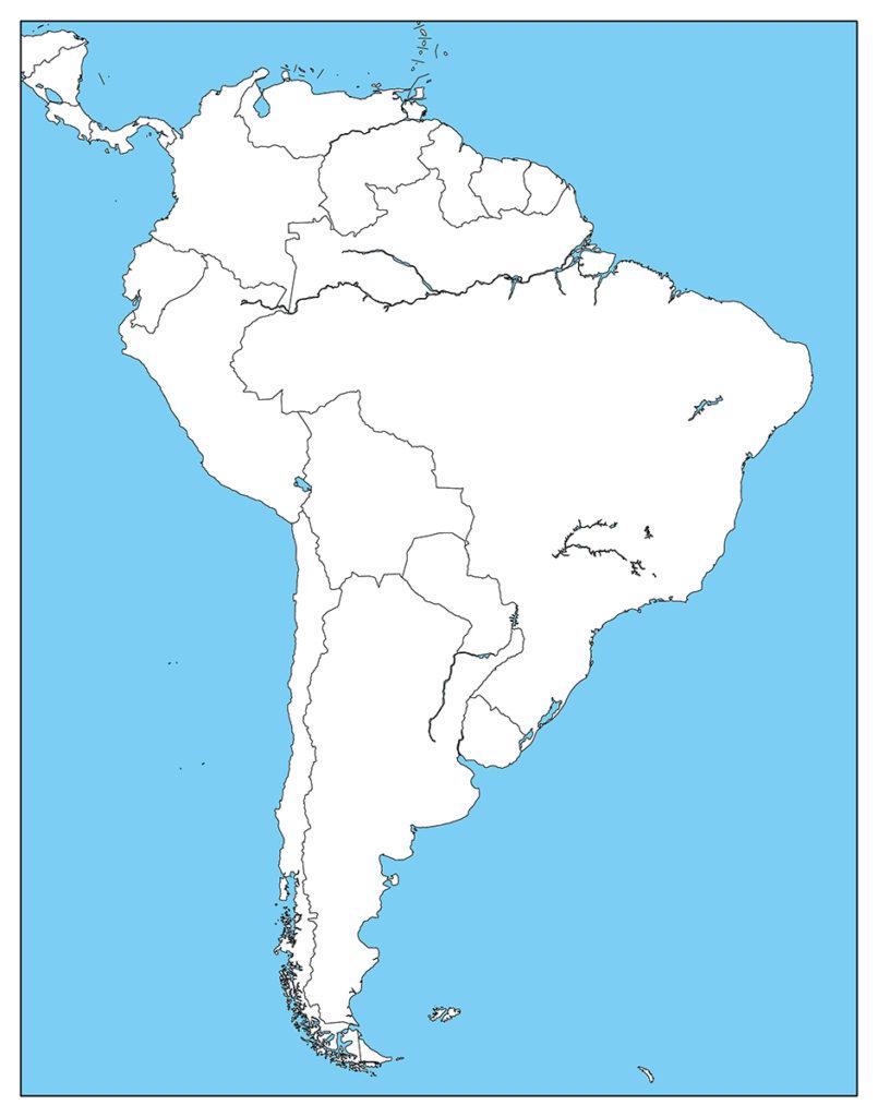 南アメリカ地域-白地図-国境あり-海
