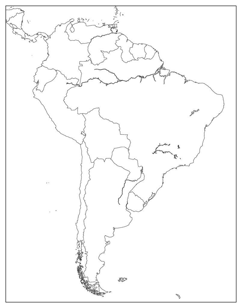 南アメリカ地域-白地図-国境あり