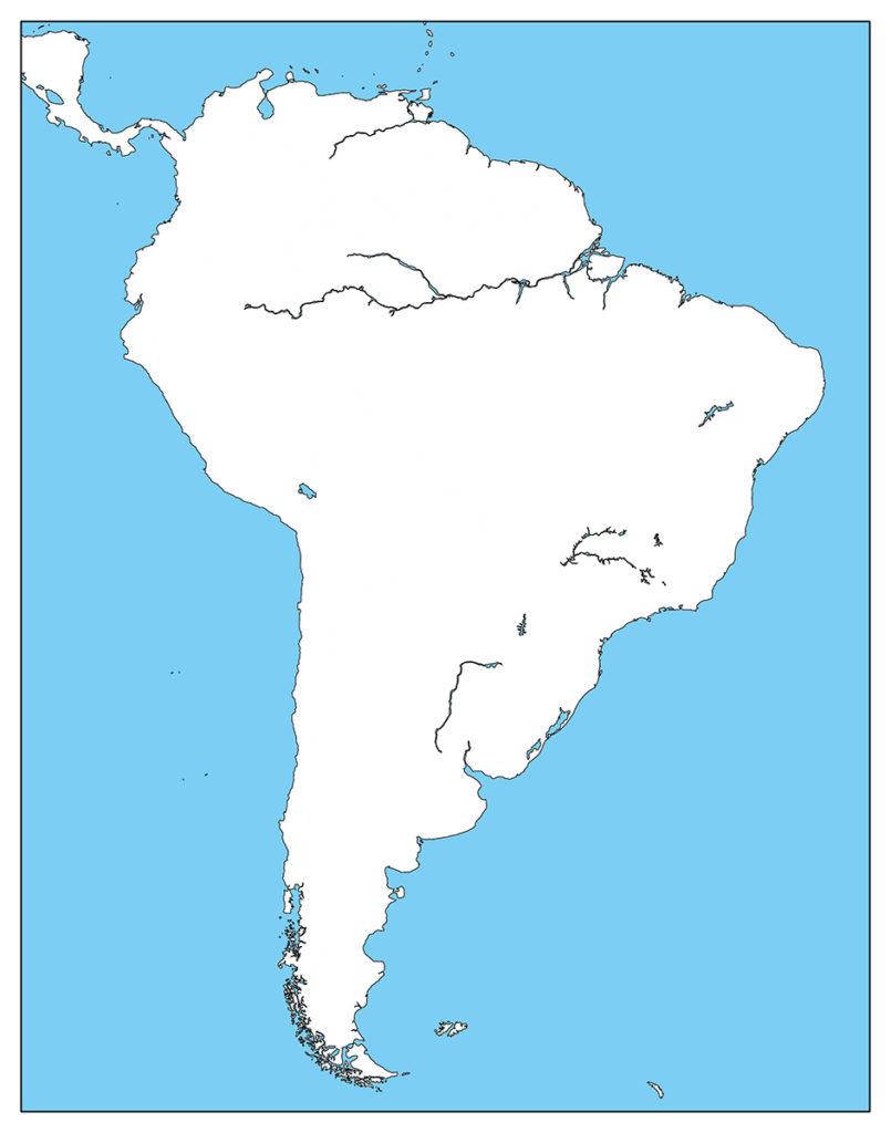 南アメリカ地域-白地図-国境なし-海