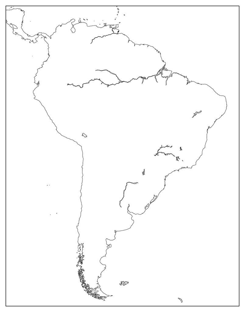 南アメリカ地域-白地図-国境なし