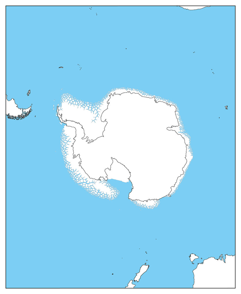 南極地域-白地図-国境なし-海