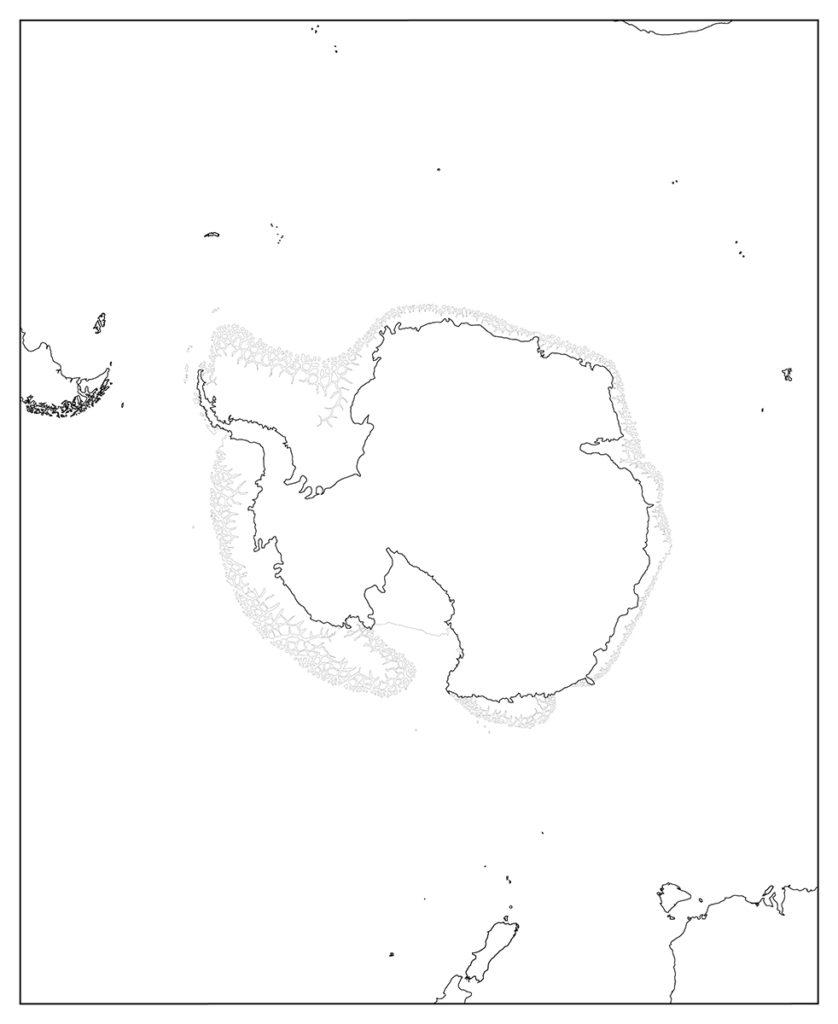 南極地域-白地図-国境なし