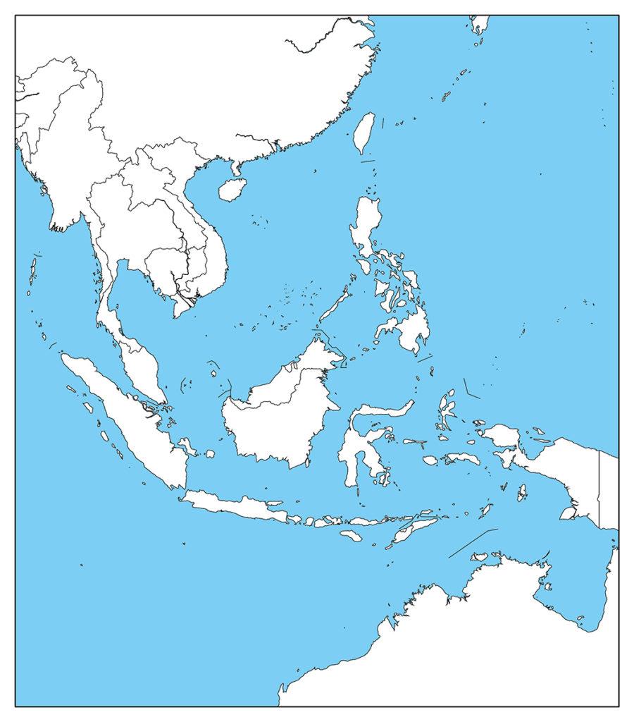 東南アジア地域-白地図-国境あり-海
