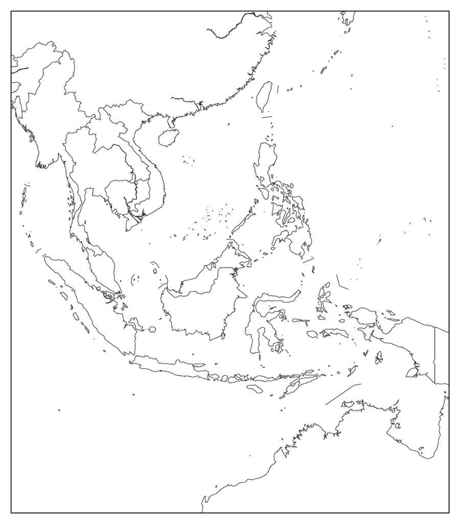 東南アジア地域-白地図-国境あり