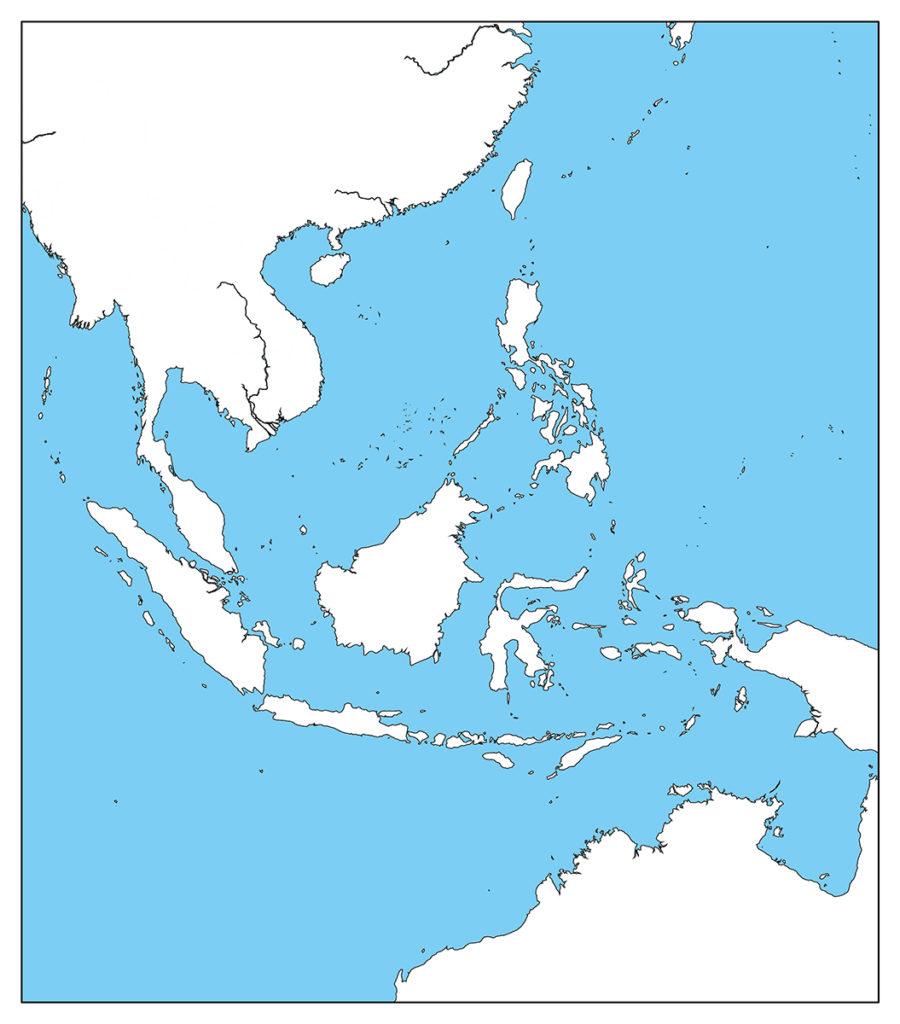 東南アジア地域-白地図-国境なし-海