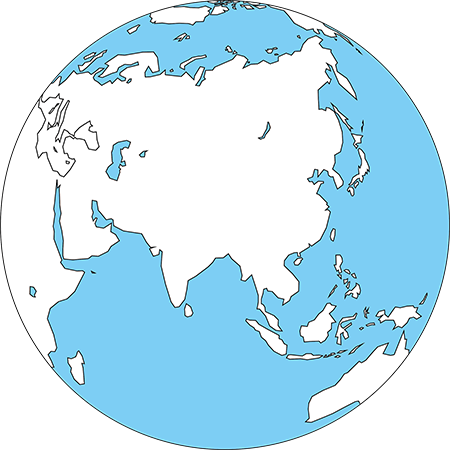 正射図法-アジア-白-海
