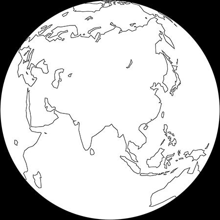 正射図法-アジア-白