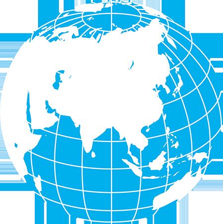 正射図法-アジア-緯度経度