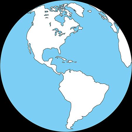 正射図法-アメリカ-白-海
