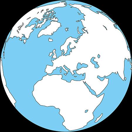 正射図法-ヨーロッパ-白-海