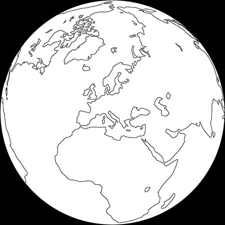 正射図法-ヨーロッパ-白