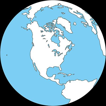 正射図法-北アメリカ-白-海