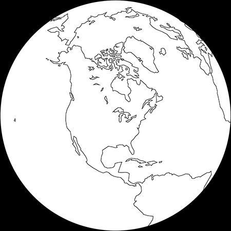 正射図法-北アメリカ-白