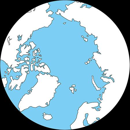 正射図法-北極-白-海