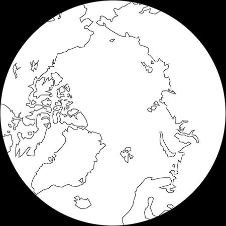 正射図法-北極-白