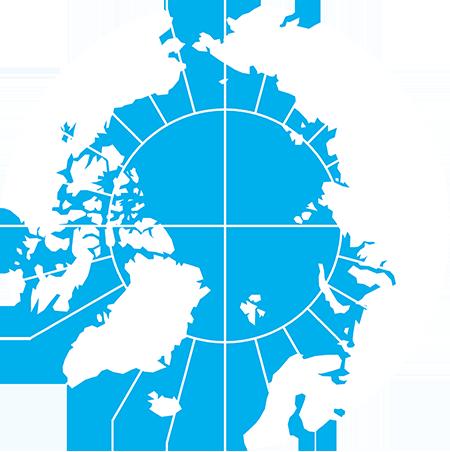 正射図法-北極-緯度経度