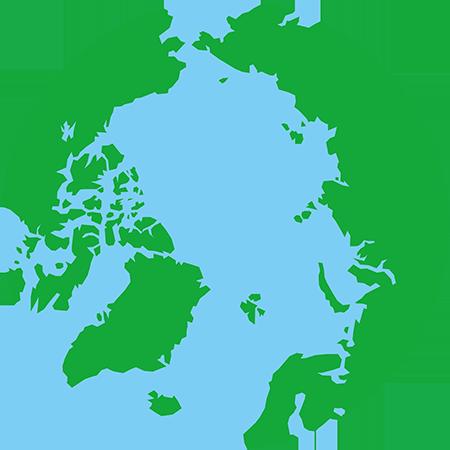 正射図法-北極