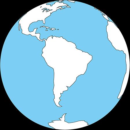 正射図法-南アメリカ-白-海