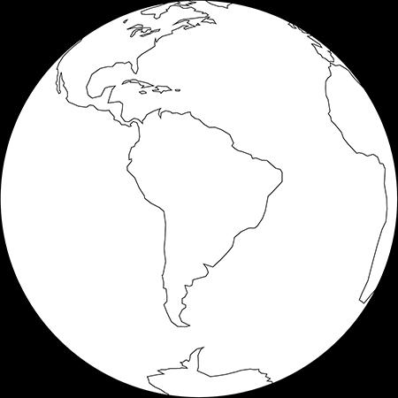 正射図法-南アメリカ-白
