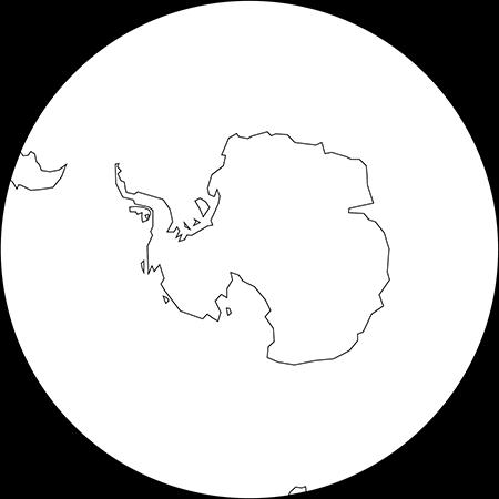 正射図法-南極-白