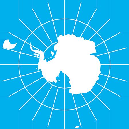 正射図法-南極-緯度経度