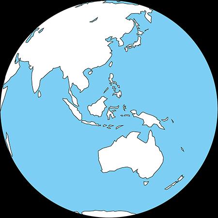 正射図法-東南アジア-白-海