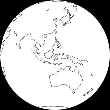 正射図法-東南アジア-白