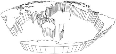 立体斜め-モルワイデ図法-白