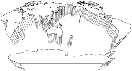 立体斜め-ヴィンケル図法-白