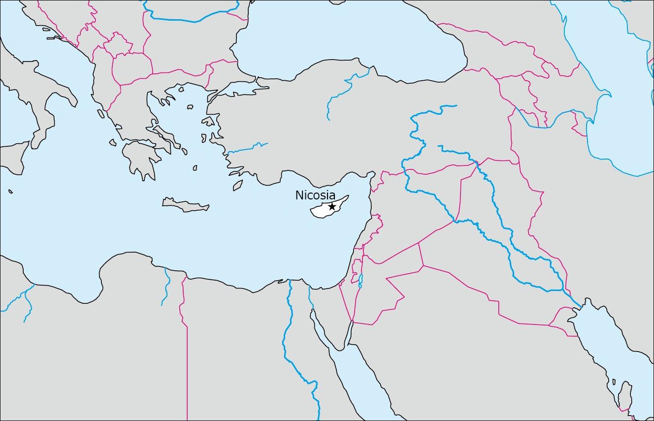 キプロスの白地図 Blank Maps Of Respective Nations - Cyprus blank map