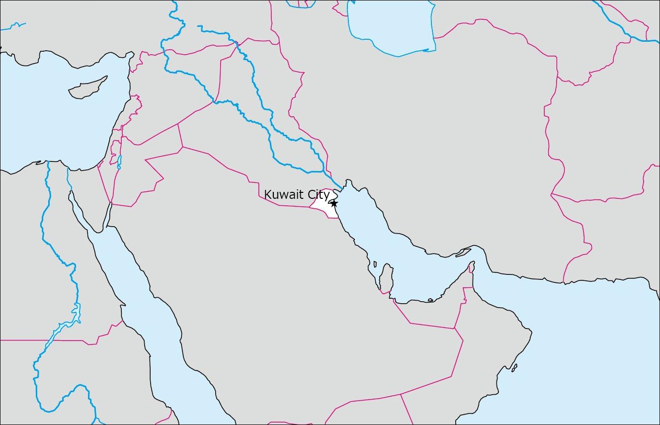 クウェートの白地図 Blank Maps Of Respective Nations