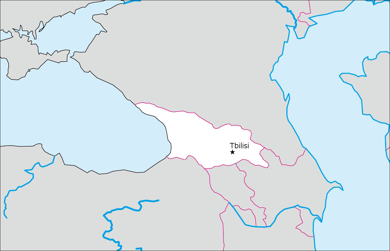 Map Of Georgia With Capital.ジョージアの白地図 Blank Maps Of Respective Nations
