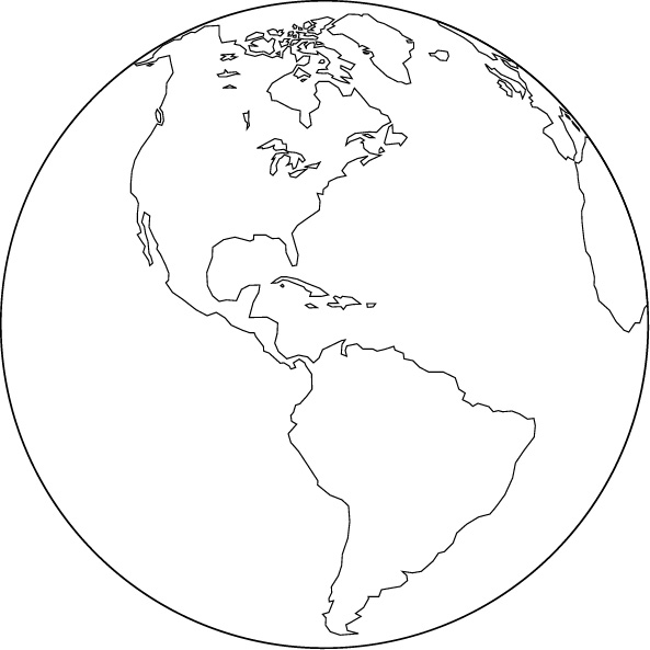 Orthographic projection blank map (America center)