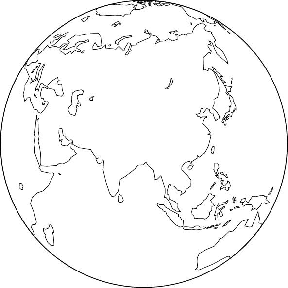 Orthographic Projection Blank Map Asia Center - Blank globe map