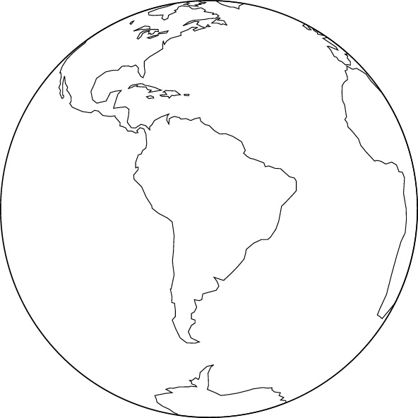 Orthographic projection blank map (South America center)