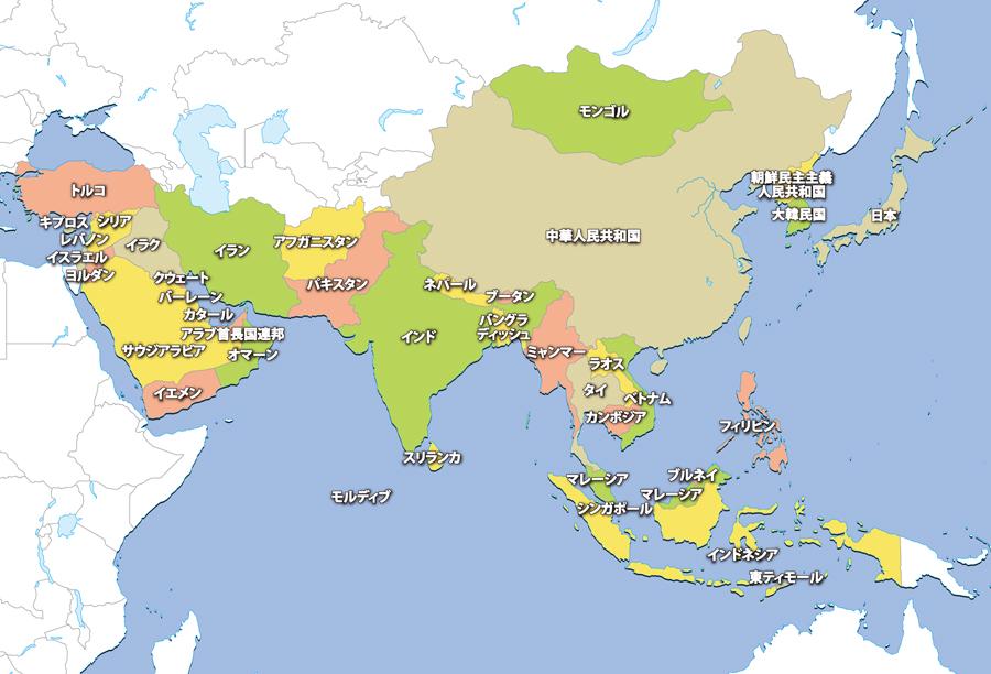 すべての講義 アジア地図国名入り : ... 国旗-地図から探す-アジア地域