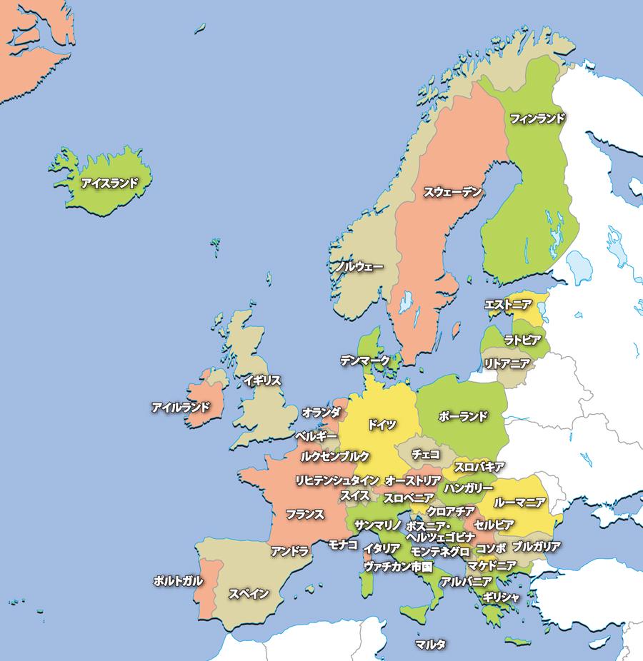 ヨーロッパ地域の地図