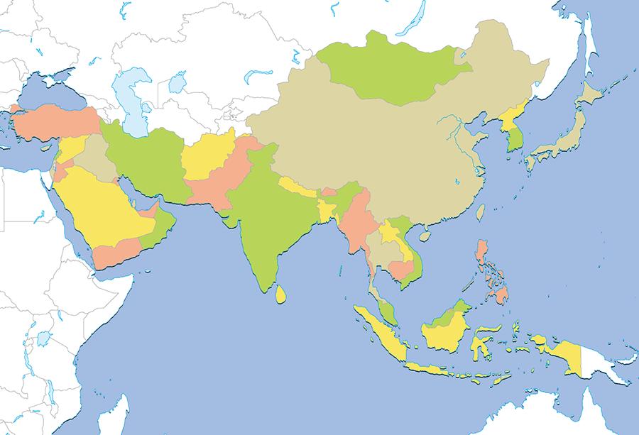 世界の国旗-地図から探す-アジア...