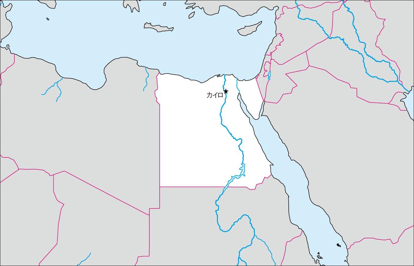 エジプト白地図(首都あり)のフリー画像 エジプト白地図(首都あり)のフリー画像 エジプト白地図(