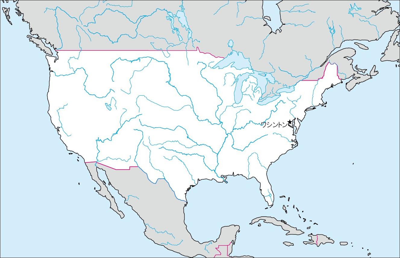 アメリカ合衆国本土白地図(首都なし)のフリー画像 アメリカ合衆国アラス... 各国の白地図 |