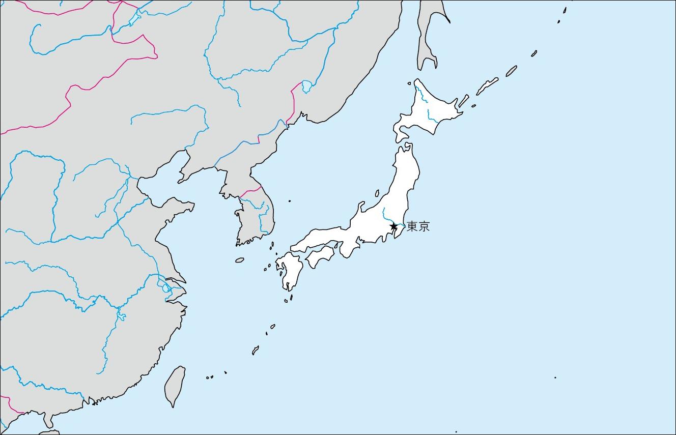 日本白地図(首都あり)のフリー ...